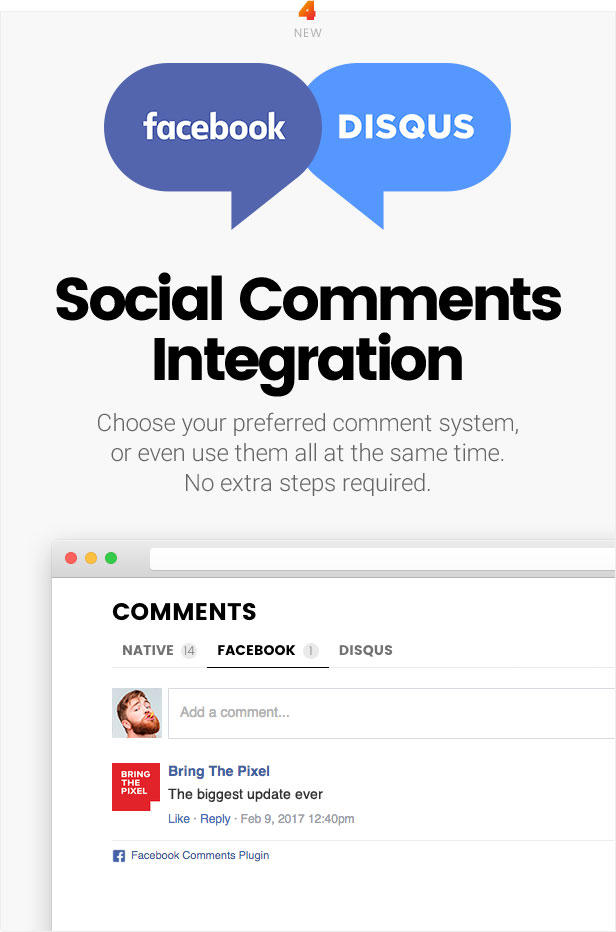 Facebook comments, Disqus comments